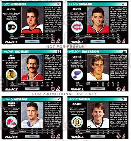 1992-93 Pinnacle Promo Sheets #NNO Eric Lindros,Denis Savard, Michael Goulet, Nelson Emerson, Owen Nolan, Andy Moog<br/>2 In Stock - $5.00 each - <a href=https://centericecollectibles.foxycart.com/cart?name=1992-93%20Pinnacle%20Promo%20Sheets%20%23NNO%20Eric%20Lindros,De...&quantity_max=2&price=$5.00&code=656024 class=foxycart> Buy it now! </a>