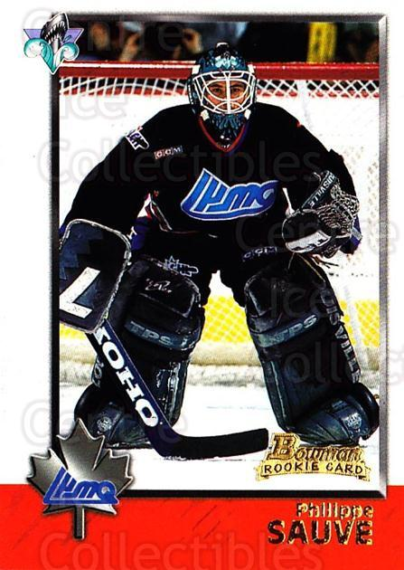 1998 Bowman CHL #101 Philippe Sauve<br/>2 In Stock - $1.00 each - <a href=https://centericecollectibles.foxycart.com/cart?name=1998%20Bowman%20CHL%20%23101%20Philippe%20Sauve...&quantity_max=2&price=$1.00&code=65657 class=foxycart> Buy it now! </a>