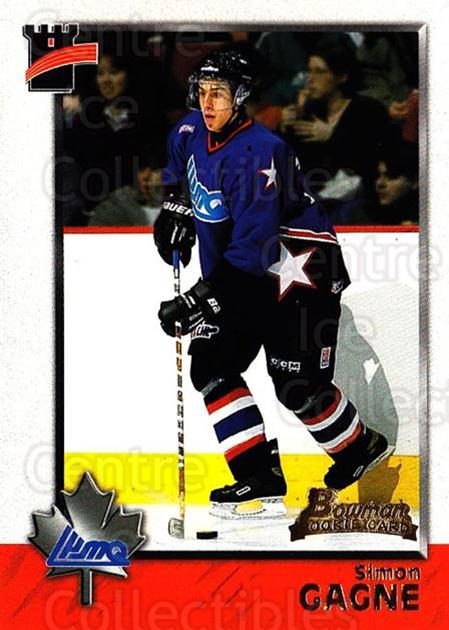 1998 Bowman CHL #107 Simon Gagne<br/>11 In Stock - $1.00 each - <a href=https://centericecollectibles.foxycart.com/cart?name=1998%20Bowman%20CHL%20%23107%20Simon%20Gagne...&quantity_max=11&price=$1.00&code=65663 class=foxycart> Buy it now! </a>