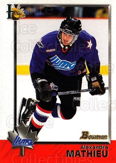 1998 Bowman CHL #115 Alexandre Mathieu<br/>6 In Stock - $1.00 each - <a href=https://centericecollectibles.foxycart.com/cart?name=1998%20Bowman%20CHL%20%23115%20Alexandre%20Mathi...&quantity_max=6&price=$1.00&code=65672 class=foxycart> Buy it now! </a>