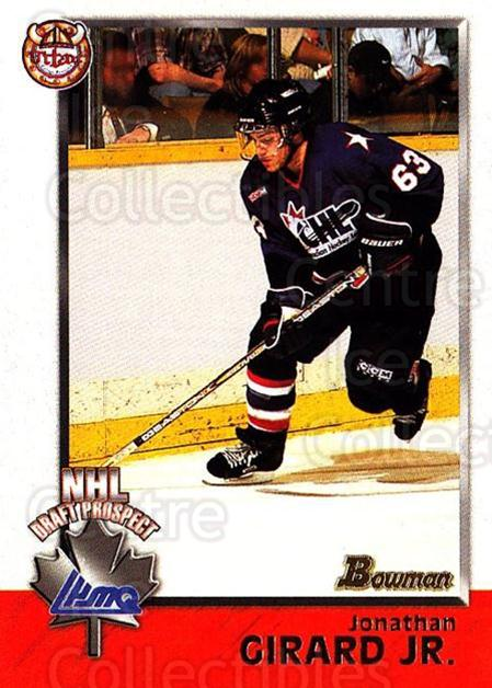 1998 Bowman CHL #135 Jonathan Girard<br/>10 In Stock - $1.00 each - <a href=https://centericecollectibles.foxycart.com/cart?name=1998%20Bowman%20CHL%20%23135%20Jonathan%20Girard...&quantity_max=10&price=$1.00&code=65694 class=foxycart> Buy it now! </a>