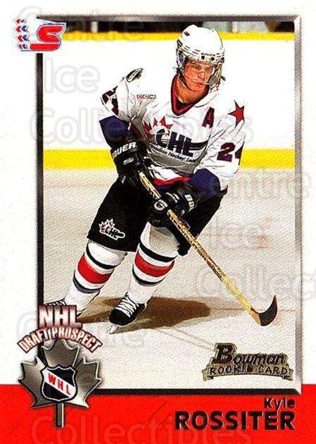 1998 Bowman CHL #157 Kyle Rossiter<br/>2 In Stock - $1.00 each - <a href=https://centericecollectibles.foxycart.com/cart?name=1998%20Bowman%20CHL%20%23157%20Kyle%20Rossiter...&quantity_max=2&price=$1.00&code=65717 class=foxycart> Buy it now! </a>