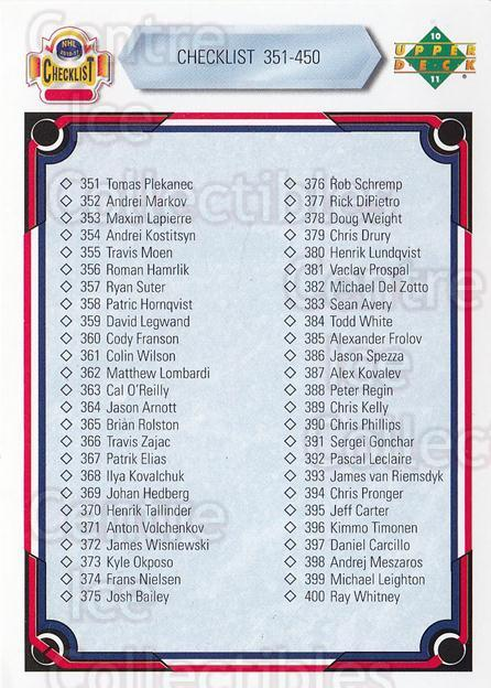 2010-11 Upper Deck 20th Anniversary Parallel #450 Checklist Card<br/>1 In Stock - $2.00 each - <a href=https://centericecollectibles.foxycart.com/cart?name=2010-11%20Upper%20Deck%2020th%20Anniversary%20Parallel%20%23450%20Checklist%20Card...&quantity_max=1&price=$2.00&code=657358 class=foxycart> Buy it now! </a>