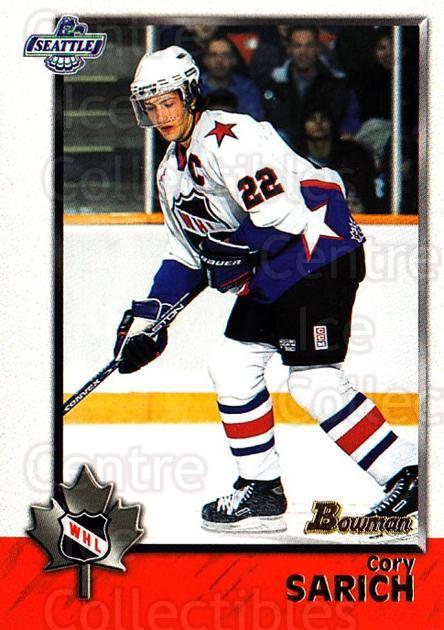 1998 Bowman CHL #68 Cory Sarich<br/>11 In Stock - $1.00 each - <a href=https://centericecollectibles.foxycart.com/cart?name=1998%20Bowman%20CHL%20%2368%20Cory%20Sarich...&quantity_max=11&price=$1.00&code=65783 class=foxycart> Buy it now! </a>