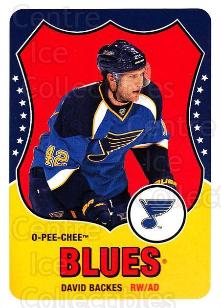 2010-11 O-Pee-Chee Retro #163 David Backes<br/>3 In Stock - $2.00 each - <a href=https://centericecollectibles.foxycart.com/cart?name=2010-11%20O-Pee-Chee%20Retro%20%23163%20David%20Backes...&quantity_max=3&price=$2.00&code=657892 class=foxycart> Buy it now! </a>