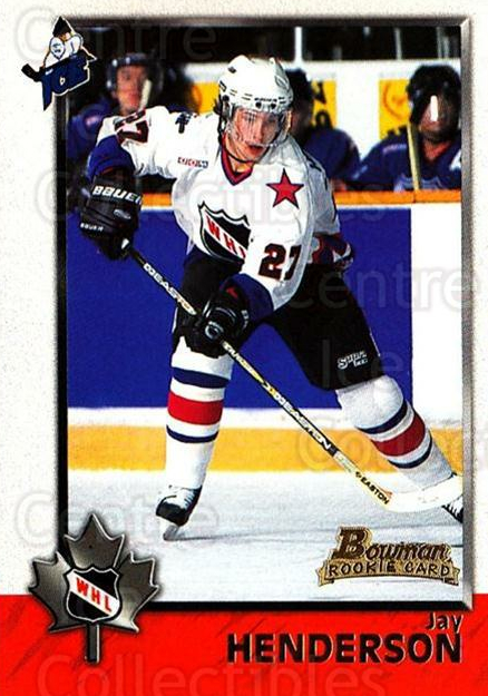 1998 Bowman CHL #77 Jay Henderson<br/>6 In Stock - $1.00 each - <a href=https://centericecollectibles.foxycart.com/cart?name=1998%20Bowman%20CHL%20%2377%20Jay%20Henderson...&quantity_max=6&price=$1.00&code=65793 class=foxycart> Buy it now! </a>