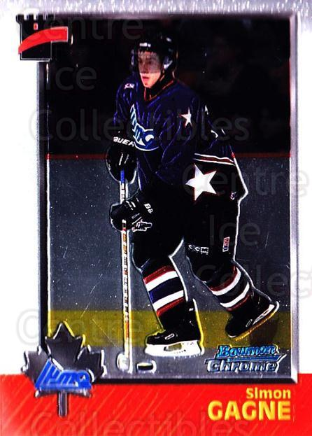 1998 Bowman CHL Chrome #107 Simon Gagne<br/>11 In Stock - $1.00 each - <a href=https://centericecollectibles.foxycart.com/cart?name=1998%20Bowman%20CHL%20Chrome%20%23107%20Simon%20Gagne...&quantity_max=11&price=$1.00&code=65822 class=foxycart> Buy it now! </a>