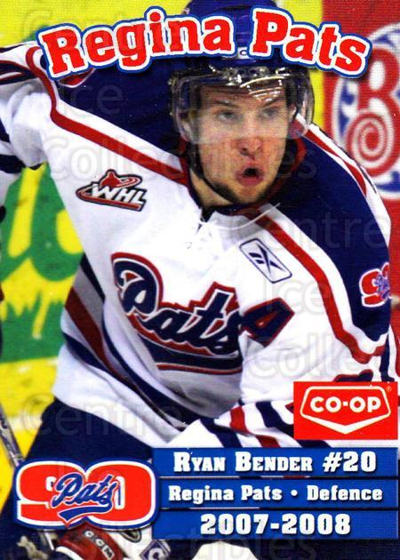 2007-08 Regina Pats #2 Ryan Bender<br/>19 In Stock - $3.00 each - <a href=https://centericecollectibles.foxycart.com/cart?name=2007-08%20Regina%20Pats%20%232%20Ryan%20Bender...&quantity_max=19&price=$3.00&code=658305 class=foxycart> Buy it now! </a>