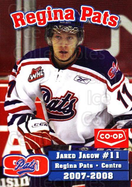 2007-08 Regina Pats #13 Jared Jagow<br/>19 In Stock - $3.00 each - <a href=https://centericecollectibles.foxycart.com/cart?name=2007-08%20Regina%20Pats%20%2313%20Jared%20Jagow...&quantity_max=19&price=$3.00&code=658316 class=foxycart> Buy it now! </a>
