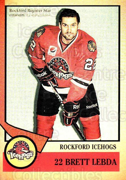 2012-13 Rockford Ice Hogs #18 Brett Lebda<br/>2 In Stock - $3.00 each - <a href=https://centericecollectibles.foxycart.com/cart?name=2012-13%20Rockford%20Ice%20Hogs%20%2318%20Brett%20Lebda...&quantity_max=2&price=$3.00&code=658402 class=foxycart> Buy it now! </a>