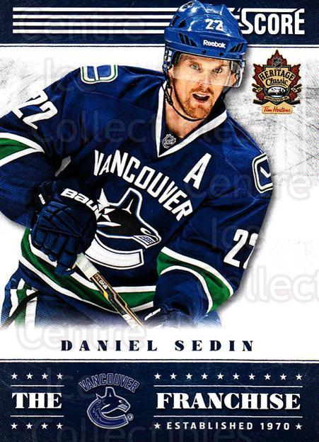 2013-14 Heritage Classic Score #TF01 Daniel Sedin<br/>9 In Stock - $2.00 each - <a href=https://centericecollectibles.foxycart.com/cart?name=2013-14%20Heritage%20Classic%20Score%20%23TF01%20Daniel%20Sedin...&price=$2.00&code=659450 class=foxycart> Buy it now! </a>