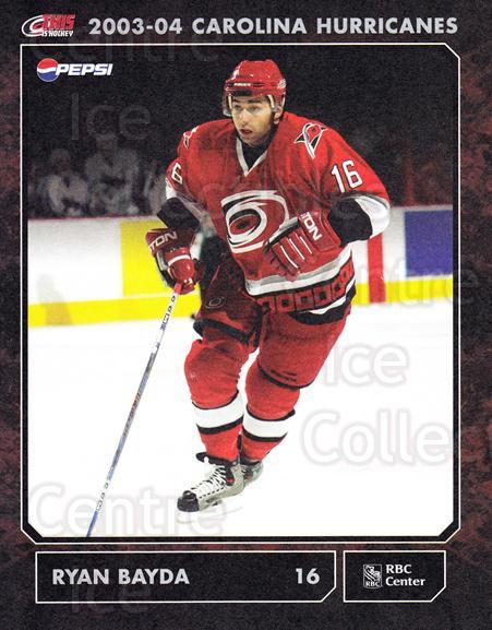 2003-04 Carolina Hurricanes Postcards #3 Ryan Bayda<br/>2 In Stock - $3.00 each - <a href=https://centericecollectibles.foxycart.com/cart?name=2003-04%20Carolina%20Hurricanes%20Postcards%20%233%20Ryan%20Bayda...&quantity_max=2&price=$3.00&code=659463 class=foxycart> Buy it now! </a>