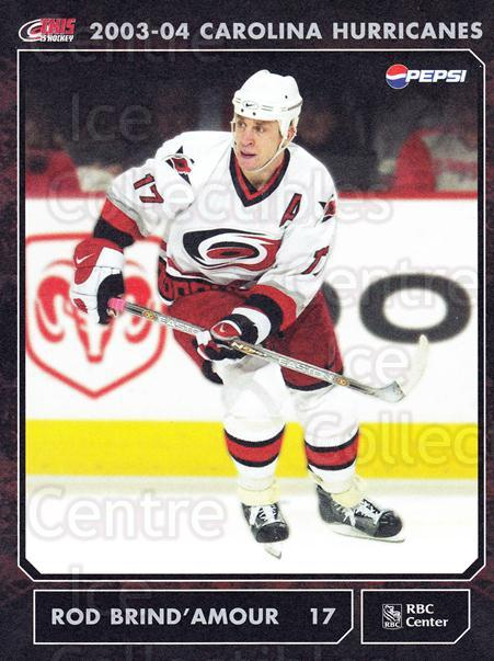 2003-04 Carolina Hurricanes Postcards #6 Rod Brind'Amour<br/>3 In Stock - $3.00 each - <a href=https://centericecollectibles.foxycart.com/cart?name=2003-04%20Carolina%20Hurricanes%20Postcards%20%236%20Rod%20Brind'Amour...&quantity_max=3&price=$3.00&code=659466 class=foxycart> Buy it now! </a>