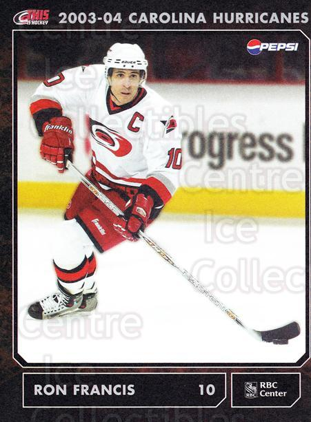 2003-04 Carolina Hurricanes Postcards #8 Ron Francis<br/>2 In Stock - $5.00 each - <a href=https://centericecollectibles.foxycart.com/cart?name=2003-04%20Carolina%20Hurricanes%20Postcards%20%238%20Ron%20Francis...&quantity_max=2&price=$5.00&code=659468 class=foxycart> Buy it now! </a>