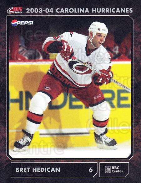 2003-04 Carolina Hurricanes Postcards #9 Bret Hedican<br/>3 In Stock - $3.00 each - <a href=https://centericecollectibles.foxycart.com/cart?name=2003-04%20Carolina%20Hurricanes%20Postcards%20%239%20Bret%20Hedican...&quantity_max=3&price=$3.00&code=659469 class=foxycart> Buy it now! </a>