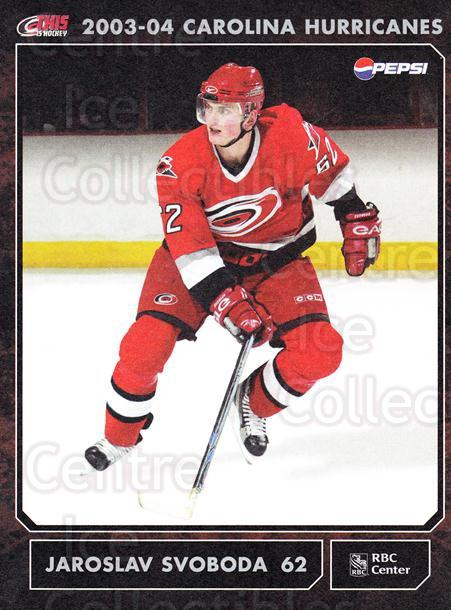 2003-04 Carolina Hurricanes Postcards #18 Jaroslav Svoboda<br/>1 In Stock - $3.00 each - <a href=https://centericecollectibles.foxycart.com/cart?name=2003-04%20Carolina%20Hurricanes%20Postcards%20%2318%20Jaroslav%20Svobod...&quantity_max=1&price=$3.00&code=659478 class=foxycart> Buy it now! </a>