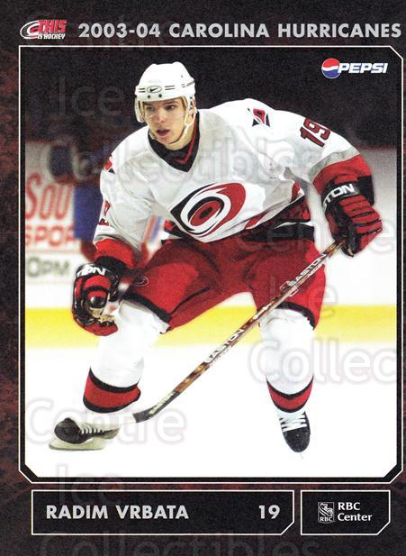 2003-04 Carolina Hurricanes Postcards #20 Radim Vrbata<br/>2 In Stock - $3.00 each - <a href=https://centericecollectibles.foxycart.com/cart?name=2003-04%20Carolina%20Hurricanes%20Postcards%20%2320%20Radim%20Vrbata...&quantity_max=2&price=$3.00&code=659480 class=foxycart> Buy it now! </a>