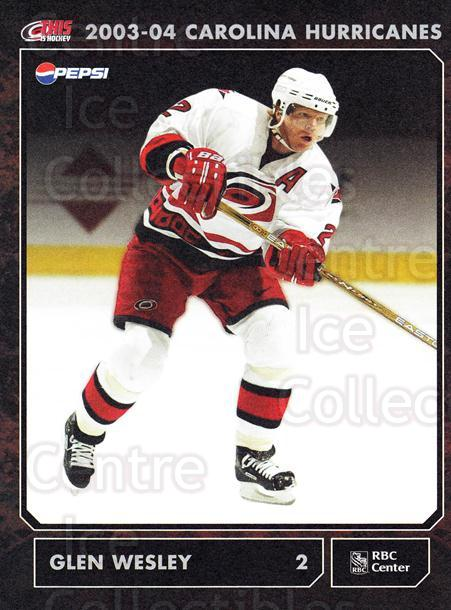 2003-04 Carolina Hurricanes Postcards #24 Glen Wesley<br/>2 In Stock - $3.00 each - <a href=https://centericecollectibles.foxycart.com/cart?name=2003-04%20Carolina%20Hurricanes%20Postcards%20%2324%20Glen%20Wesley...&quantity_max=2&price=$3.00&code=659484 class=foxycart> Buy it now! </a>