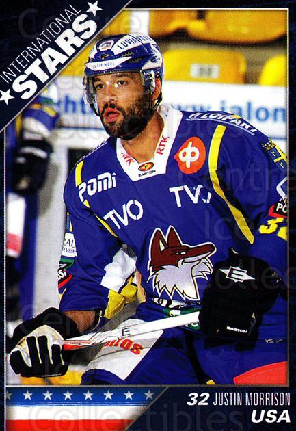 2010-11 Finnish Cardset International Stars Series One #1 Justin Morrison<br/>3 In Stock - $3.00 each - <a href=https://centericecollectibles.foxycart.com/cart?name=2010-11%20Finnish%20Cardset%20International%20Stars%20Series%20One%20%231%20Justin%20Morrison...&quantity_max=3&price=$3.00&code=660074 class=foxycart> Buy it now! </a>