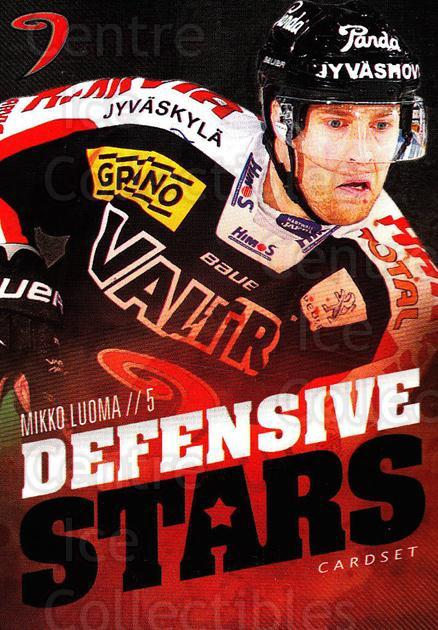 2015-16 Finnish Cardset Defensive Stars #5 Mikko Luoma<br/>1 In Stock - $3.00 each - <a href=https://centericecollectibles.foxycart.com/cart?name=2015-16%20Finnish%20Cardset%20Defensive%20Stars%20%235%20Mikko%20Luoma...&quantity_max=1&price=$3.00&code=660632 class=foxycart> Buy it now! </a>