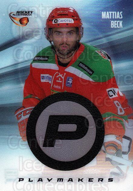 2013-14 Swedish Hockey Allsvenskan Playmakers #8 Mattias Beck<br/>1 In Stock - $3.00 each - <a href=https://centericecollectibles.foxycart.com/cart?name=2013-14%20Swedish%20Hockey%20Allsvenskan%20Playmakers%20%238%20Mattias%20Beck...&quantity_max=1&price=$3.00&code=660980 class=foxycart> Buy it now! </a>