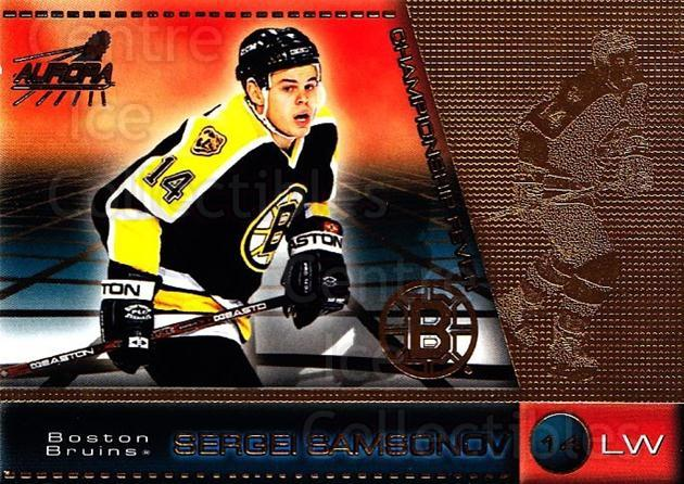1998-99 Aurora Championship Fever #5 Sergei Samsonov<br/>8 In Stock - $1.00 each - <a href=https://centericecollectibles.foxycart.com/cart?name=1998-99%20Aurora%20Championship%20Fever%20%235%20Sergei%20Samsonov...&quantity_max=8&price=$1.00&code=66157 class=foxycart> Buy it now! </a>