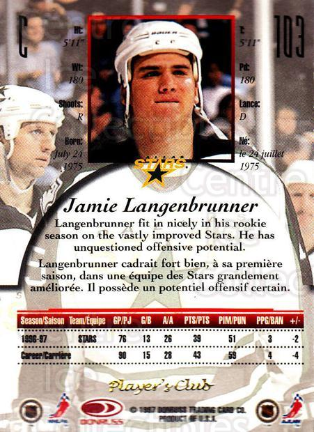 1997-98 Canadian Ice Provincial Player's Club #103 Jamie Langenbrunner<br/>1 In Stock - $10.00 each - <a href=https://centericecollectibles.foxycart.com/cart?name=1997-98%20Canadian%20Ice%20Provincial%20Player's%20Club%20%23103%20Jamie%20Langenbru...&quantity_max=1&price=$10.00&code=662044 class=foxycart> Buy it now! </a>