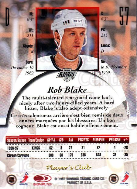 1997-98 Canadian Ice Provincial Player's Club #57 Rob Blake<br/>1 In Stock - $10.00 each - <a href=https://centericecollectibles.foxycart.com/cart?name=1997-98%20Canadian%20Ice%20Provincial%20Player's%20Club%20%2357%20Rob%20Blake...&quantity_max=1&price=$10.00&code=662141 class=foxycart> Buy it now! </a>