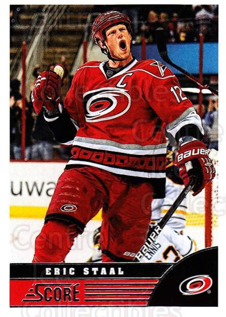 2013-14 Score #74 Eric Staal<br/>3 In Stock - $1.00 each - <a href=https://centericecollectibles.foxycart.com/cart?name=2013-14%20Score%20%2374%20Eric%20Staal...&quantity_max=3&price=$1.00&code=662612 class=foxycart> Buy it now! </a>