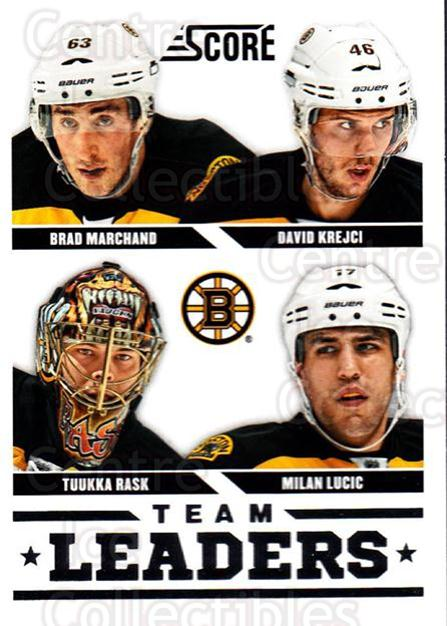2013-14 Score #552 Tuukka Rask, Brad Marchand, David Krejci, Milan Lucic<br/>3 In Stock - $2.00 each - <a href=https://centericecollectibles.foxycart.com/cart?name=2013-14%20Score%20%23552%20Tuukka%20Rask,%20Br...&quantity_max=3&price=$2.00&code=663090 class=foxycart> Buy it now! </a>
