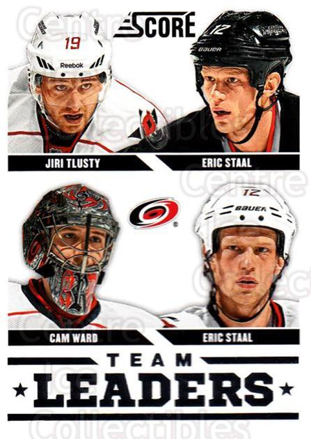 2013-14 Score #555 Cam Ward, Jiri Tlusty, Eric Staal, Eric Staal<br/>3 In Stock - $1.00 each - <a href=https://centericecollectibles.foxycart.com/cart?name=2013-14%20Score%20%23555%20Cam%20Ward,%20Jiri%20...&price=$1.00&code=663093 class=foxycart> Buy it now! </a>