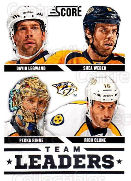 2013-14 Score #566 Shea Weber, Rich Clune, Pekka Rinne, David Legwand<br/>3 In Stock - $1.00 each - <a href=https://centericecollectibles.foxycart.com/cart?name=2013-14%20Score%20%23566%20Shea%20Weber,%20Ric...&quantity_max=3&price=$1.00&code=663104 class=foxycart> Buy it now! </a>