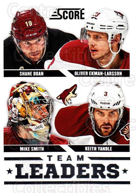 2013-14 Score #572 Mike Smith, Shane Doan, Oliver Ekman-Larsson, Keith Yandle<br/>1 In Stock - $1.00 each - <a href=https://centericecollectibles.foxycart.com/cart?name=2013-14%20Score%20%23572%20Mike%20Smith,%20Sha...&quantity_max=1&price=$1.00&code=663110 class=foxycart> Buy it now! </a>