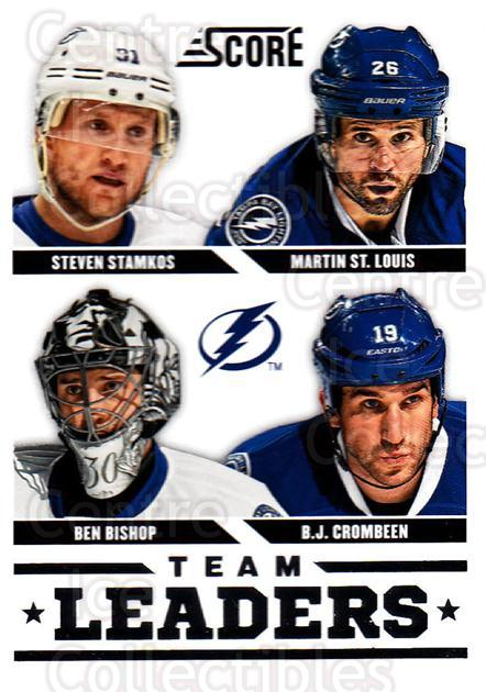 2013-14 Score #576 Ben Bishop, Steven Stamkos, Martin St. Louis, BJ Crombeen<br/>3 In Stock - $1.00 each - <a href=https://centericecollectibles.foxycart.com/cart?name=2013-14%20Score%20%23576%20Ben%20Bishop,%20Ste...&price=$1.00&code=663114 class=foxycart> Buy it now! </a>