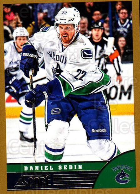 2013-14 Score Gold #495 Daniel Sedin<br/>1 In Stock - $1.00 each - <a href=https://centericecollectibles.foxycart.com/cart?name=2013-14%20Score%20Gold%20%23495%20Daniel%20Sedin...&price=$1.00&code=663813 class=foxycart> Buy it now! </a>