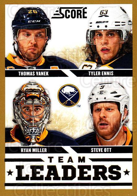 2013-14 Score Gold #553 Thomas Vanek, Steve Ott, Ryan Miller, Tyler Ennis<br/>2 In Stock - $2.00 each - <a href=https://centericecollectibles.foxycart.com/cart?name=2013-14%20Score%20Gold%20%23553%20Thomas%20Vanek,%20S...&quantity_max=2&price=$2.00&code=663871 class=foxycart> Buy it now! </a>