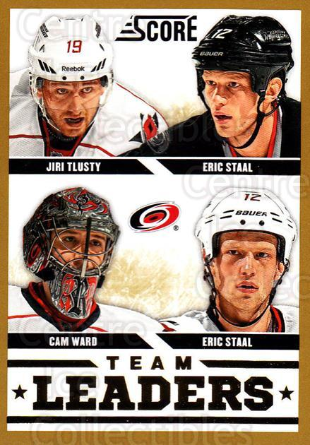 2013-14 Score Gold #555 Cam Ward, Jiri Tlusty, Eric Staal, Eric Staal<br/>1 In Stock - $2.00 each - <a href=https://centericecollectibles.foxycart.com/cart?name=2013-14%20Score%20Gold%20%23555%20Cam%20Ward,%20Jiri%20...&price=$2.00&code=663873 class=foxycart> Buy it now! </a>