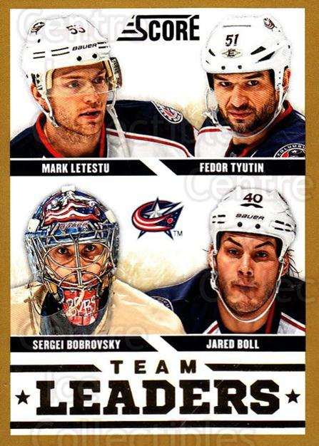 2013-14 Score Gold #558 Mark Letestu, Fedor Tyutin, Jared Boll, Sergei Bobrovsky<br/>1 In Stock - $2.00 each - <a href=https://centericecollectibles.foxycart.com/cart?name=2013-14%20Score%20Gold%20%23558%20Mark%20Letestu,%20F...&price=$2.00&code=663876 class=foxycart> Buy it now! </a>