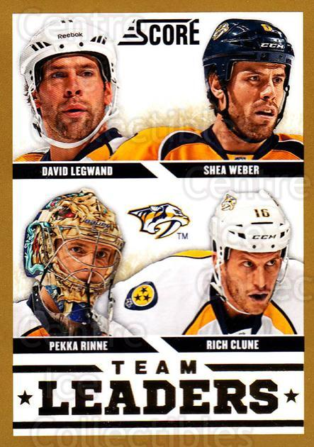 2013-14 Score Gold #566 Shea Weber, Rich Clune, Pekka Rinne, David Legwand<br/>2 In Stock - $2.00 each - <a href=https://centericecollectibles.foxycart.com/cart?name=2013-14%20Score%20Gold%20%23566%20Shea%20Weber,%20Ric...&quantity_max=2&price=$2.00&code=663884 class=foxycart> Buy it now! </a>