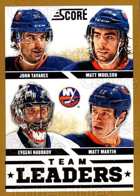 2013-14 Score Gold #568 Evgeni Nabokov, John Tavares, Matt Moulson, Matt Martin<br/>2 In Stock - $2.00 each - <a href=https://centericecollectibles.foxycart.com/cart?name=2013-14%20Score%20Gold%20%23568%20Evgeni%20Nabokov,...&quantity_max=2&price=$2.00&code=663886 class=foxycart> Buy it now! </a>