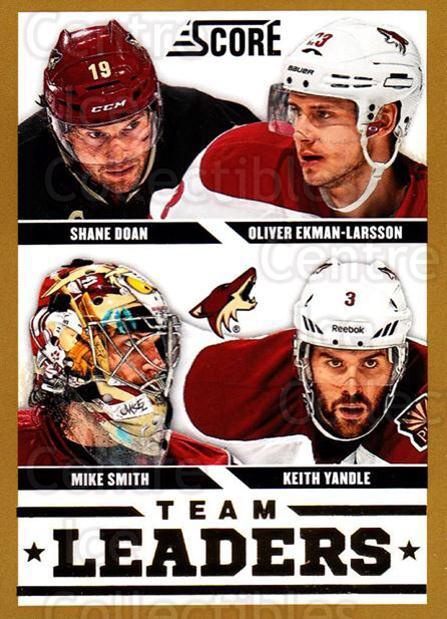 2013-14 Score Gold #572 Mike Smith, Shane Doan, Oliver Ekman-Larsson, Keith Yandle<br/>1 In Stock - $2.00 each - <a href=https://centericecollectibles.foxycart.com/cart?name=2013-14%20Score%20Gold%20%23572%20Mike%20Smith,%20Sha...&quantity_max=1&price=$2.00&code=663890 class=foxycart> Buy it now! </a>