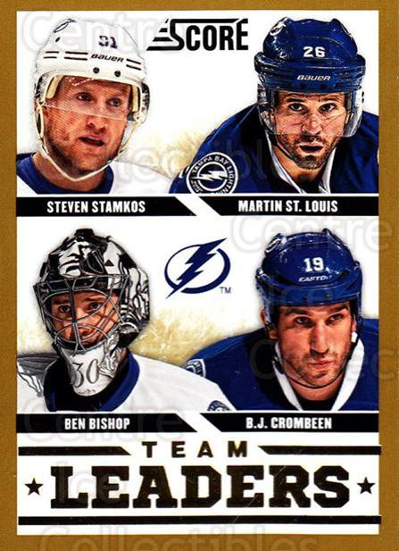 2013-14 Score Gold #576 Ben Bishop, Steven Stamkos, Martin St. Louis, BJ Crombeen<br/>1 In Stock - $2.00 each - <a href=https://centericecollectibles.foxycart.com/cart?name=2013-14%20Score%20Gold%20%23576%20Ben%20Bishop,%20Ste...&price=$2.00&code=663894 class=foxycart> Buy it now! </a>