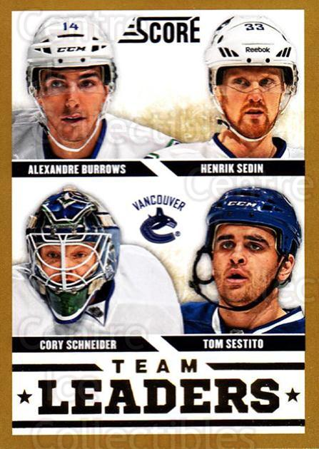 2013-14 Score Gold #578 Alexandre Burrows, Henrik Sedin, Cory Schneider, Tom Sestito<br/>2 In Stock - $2.00 each - <a href=https://centericecollectibles.foxycart.com/cart?name=2013-14%20Score%20Gold%20%23578%20Alexandre%20Burro...&quantity_max=2&price=$2.00&code=663896 class=foxycart> Buy it now! </a>