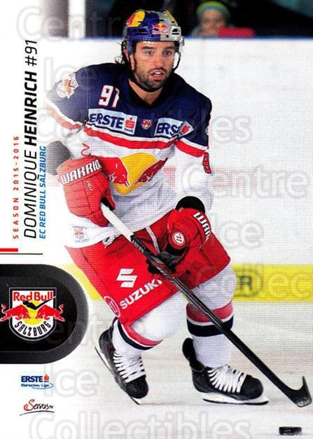 2015-16 Erste Bank Eishockey Liga EBEL #2 Dominique Heinrich<br/>3 In Stock - $2.00 each - <a href=https://centericecollectibles.foxycart.com/cart?name=2015-16%20Erste%20Bank%20Eishockey%20Liga%20EBEL%20%232%20Dominique%20Heinr...&quantity_max=3&price=$2.00&code=664494 class=foxycart> Buy it now! </a>