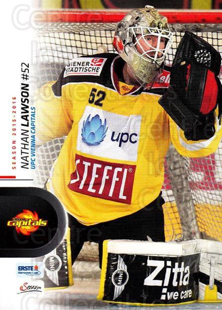 2015-16 Erste Bank Eishockey Liga EBEL #16 Nathan Lawson<br/>1 In Stock - $2.00 each - <a href=https://centericecollectibles.foxycart.com/cart?name=2015-16%20Erste%20Bank%20Eishockey%20Liga%20EBEL%20%2316%20Nathan%20Lawson...&quantity_max=1&price=$2.00&code=664508 class=foxycart> Buy it now! </a>