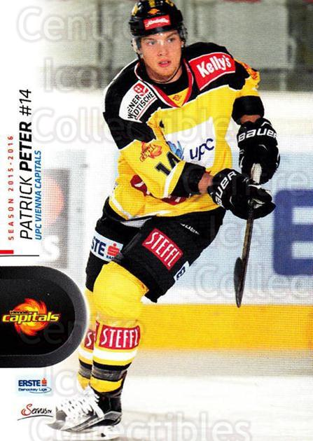 2015-16 Erste Bank Eishockey Liga EBEL #20 Patrick Peter<br/>2 In Stock - $2.00 each - <a href=https://centericecollectibles.foxycart.com/cart?name=2015-16%20Erste%20Bank%20Eishockey%20Liga%20EBEL%20%2320%20Patrick%20Peter...&quantity_max=2&price=$2.00&code=664512 class=foxycart> Buy it now! </a>