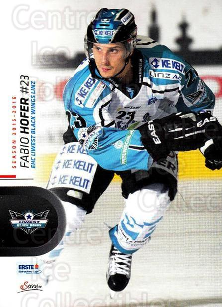 2015-16 Erste Bank Eishockey Liga EBEL #37 Fabio Hofer<br/>3 In Stock - $2.00 each - <a href=https://centericecollectibles.foxycart.com/cart?name=2015-16%20Erste%20Bank%20Eishockey%20Liga%20EBEL%20%2337%20Fabio%20Hofer...&quantity_max=3&price=$2.00&code=664529 class=foxycart> Buy it now! </a>