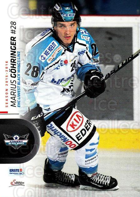2015-16 Erste Bank Eishockey Liga EBEL #38 Marius Gohringer<br/>3 In Stock - $2.00 each - <a href=https://centericecollectibles.foxycart.com/cart?name=2015-16%20Erste%20Bank%20Eishockey%20Liga%20EBEL%20%2338%20Marius%20Gohringe...&quantity_max=3&price=$2.00&code=664530 class=foxycart> Buy it now! </a>