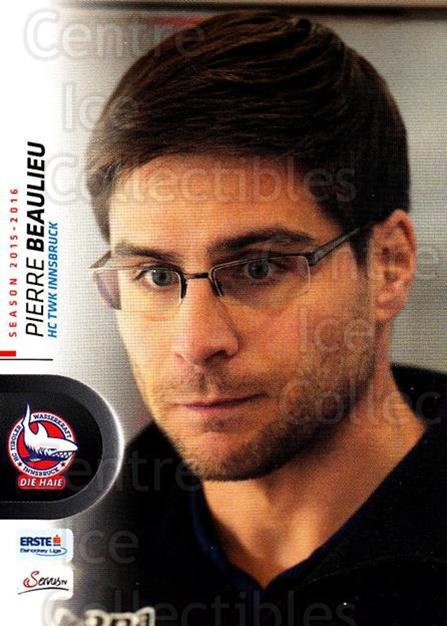 2015-16 Erste Bank Eishockey Liga EBEL #165 Pierre Beaulieu<br/>3 In Stock - $2.00 each - <a href=https://centericecollectibles.foxycart.com/cart?name=2015-16%20Erste%20Bank%20Eishockey%20Liga%20EBEL%20%23165%20Pierre%20Beaulieu...&quantity_max=3&price=$2.00&code=664657 class=foxycart> Buy it now! </a>
