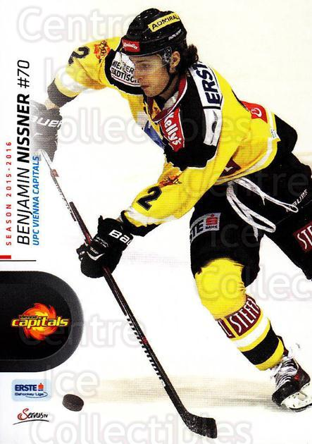 2015-16 Erste Bank Eishockey Liga EBEL #205 Benjamin Nissner<br/>2 In Stock - $2.00 each - <a href=https://centericecollectibles.foxycart.com/cart?name=2015-16%20Erste%20Bank%20Eishockey%20Liga%20EBEL%20%23205%20Benjamin%20Nissne...&quantity_max=2&price=$2.00&code=664697 class=foxycart> Buy it now! </a>